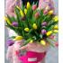 заказать Шляпная коробка с тюльпанами розовая в Петербурге