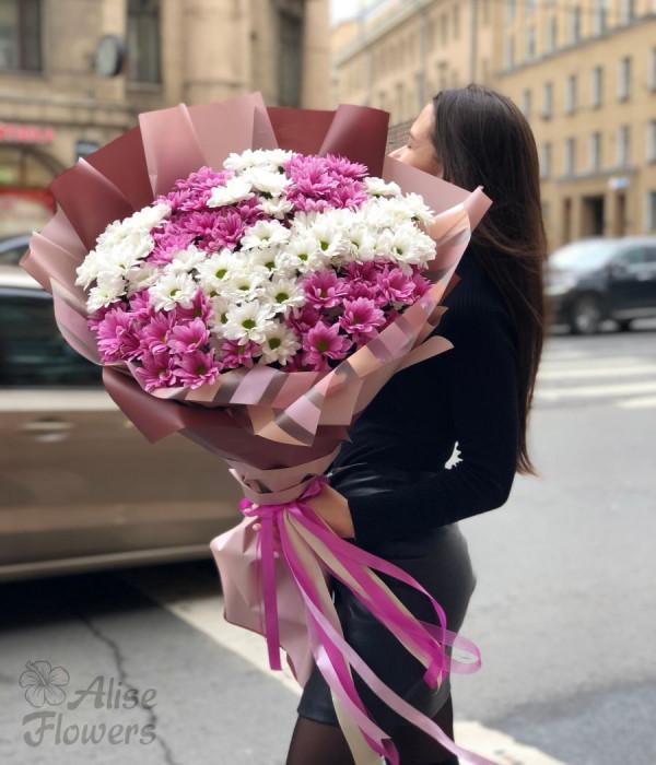 заказать Большой букет из хризантемы в Петербурге