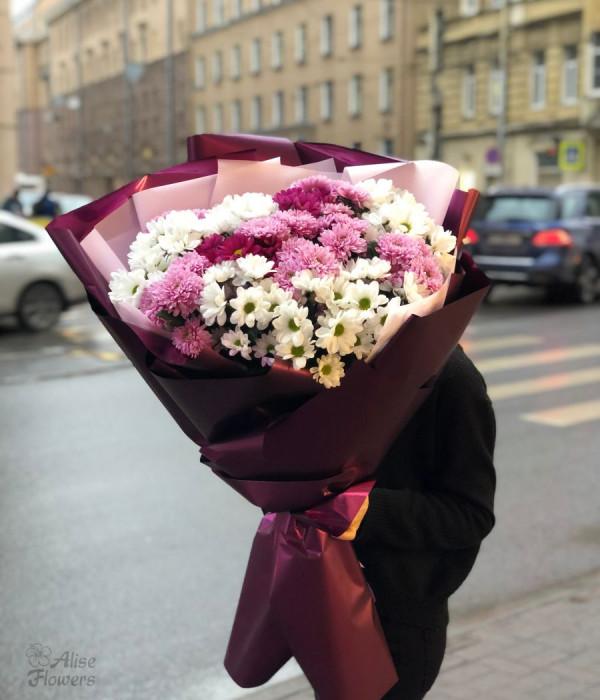заказать Букет из хризантемы огромный в Петербурге