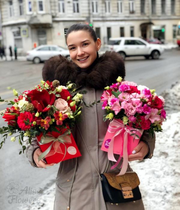 заказать Пышный цветочный ящик в Петербурге
