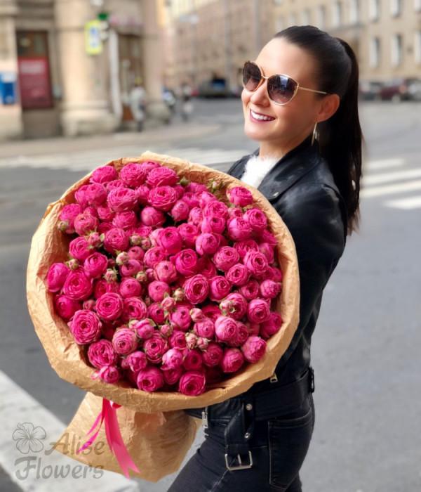 заказать Букет из пионовидных роз большой в Петербурге