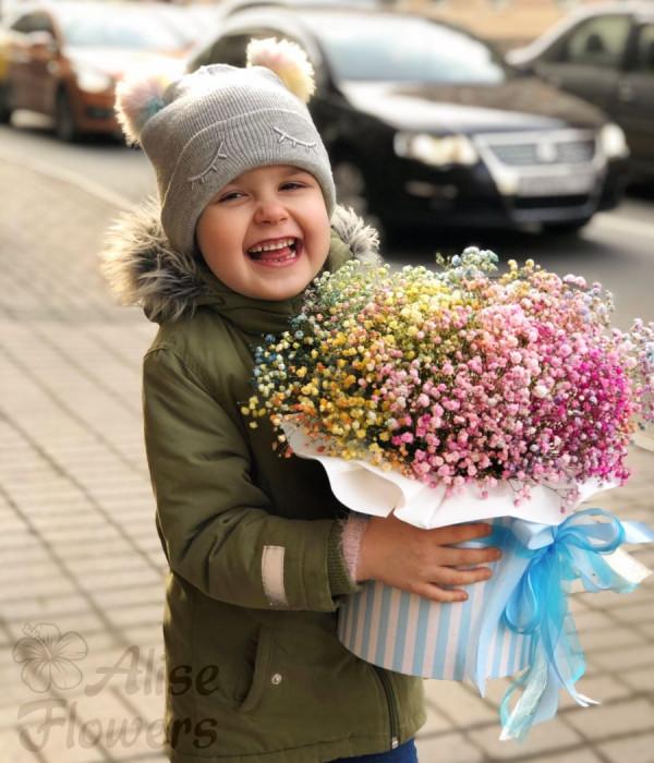 заказать Шляпная коробка из гипсофила в Петербурге