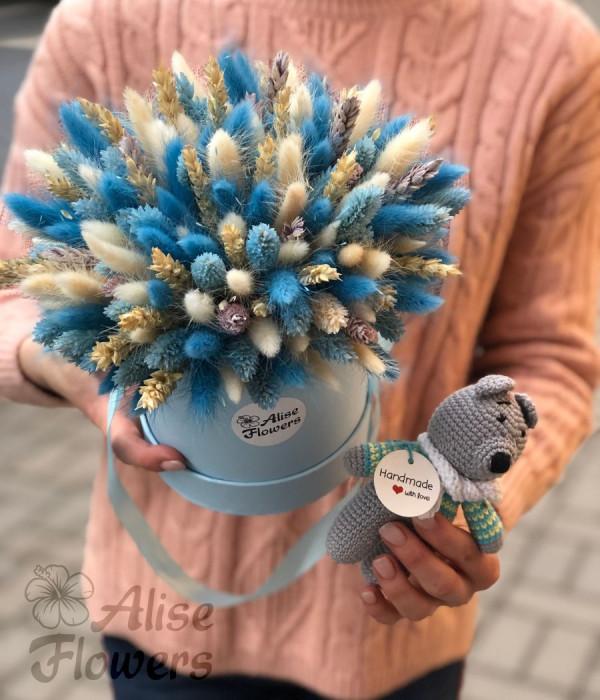 заказать Букет из сухоцветов голубой в Петербурге