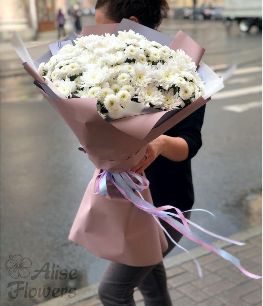 Букет хризантем белоснежный
