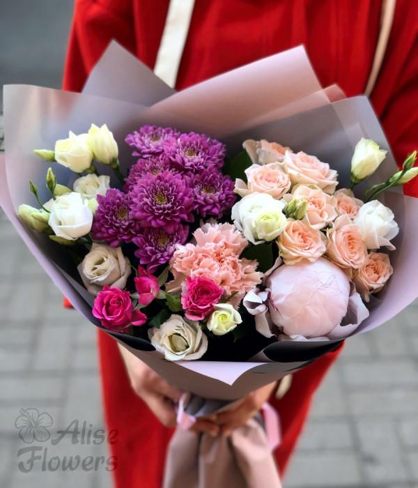 заказать Букет с розой и хризантемой в Петербурге
