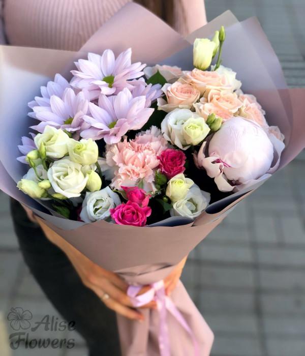 заказать Букет из розы и хризантемы в Петербурге