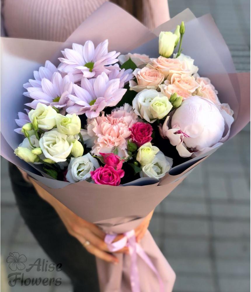 Букет из розы и хризантемы