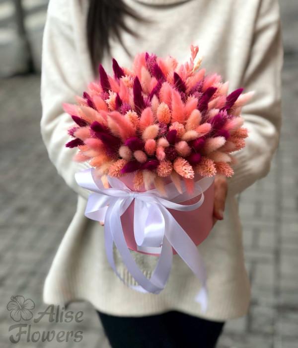 заказать Сухоцветы в шляпной коробке в Петербурге