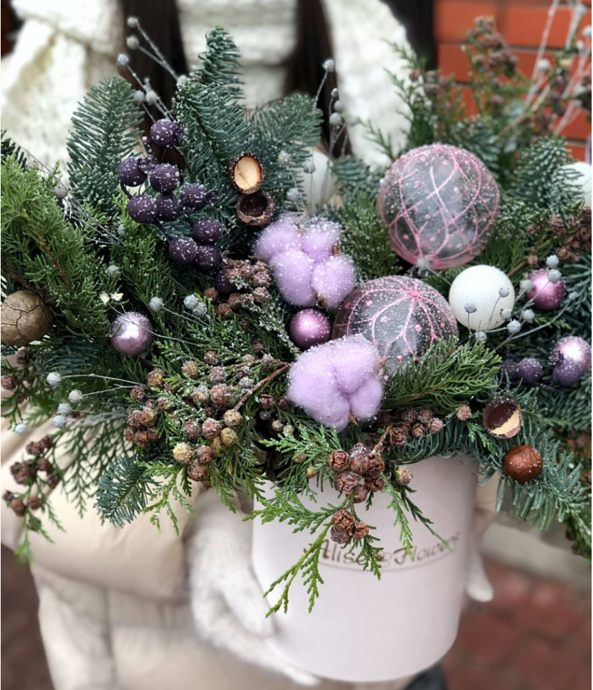 Новогодняя композиция с шарами